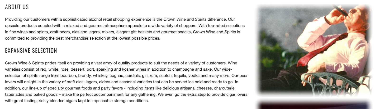 Crown Wine About us page