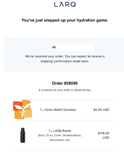 Larq order confirmation email