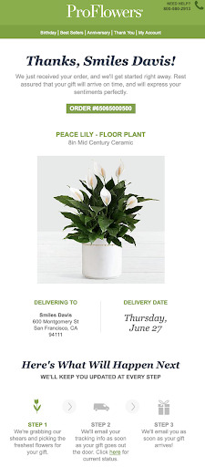 Proflowers order email