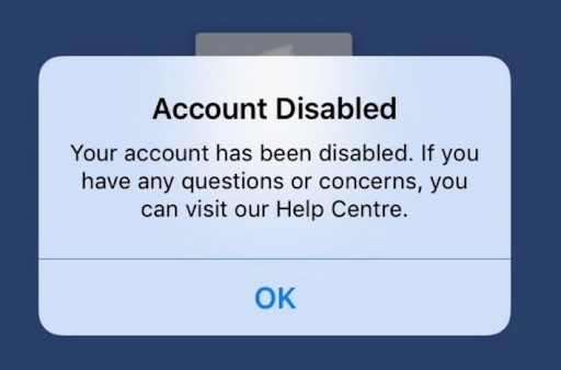 Account disabled message