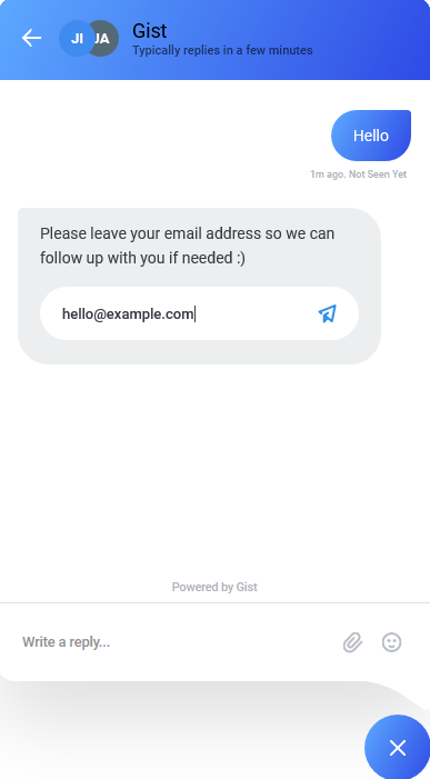 Email list chat example